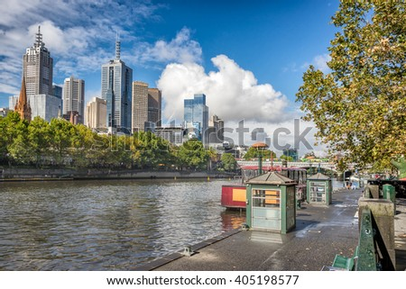 Looking down the Yarra River from Southbank to the Northbank of Melbourne - stock photo