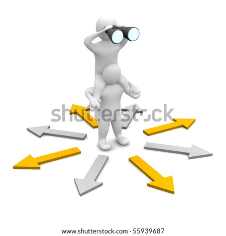 Looking for right direction. 3d rendered illustration. - stock photo