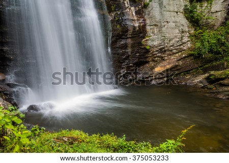 Looking Glass falls crashes into the pool below in North Carolina - stock photo