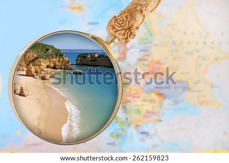 Looking in on a popular beach in southern Portugal, Dona Ana, Faro, Algarve - stock photo