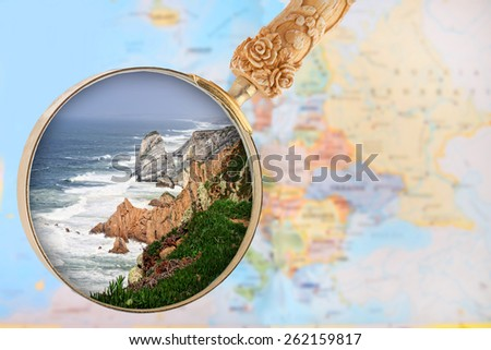 Looking in on a popular tourist destination, Cabo da Roca in Sintra, Portugal - stock photo