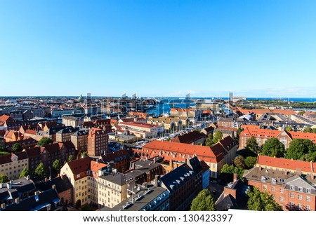 Looking into north east from a church in Copenhagen - stock photo