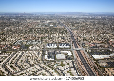Looking north from Ray Rd. in Chandler along the Loop 101 freeway towards Tempe, Arizona - stock photo