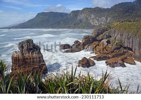 Looking north from the Punakaiki Rocks up the West Coast towards Karamea, New Zealand - stock photo