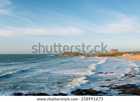 Looking out over Fistral Beach at Newquay on the north coast of Cornwall - stock photo