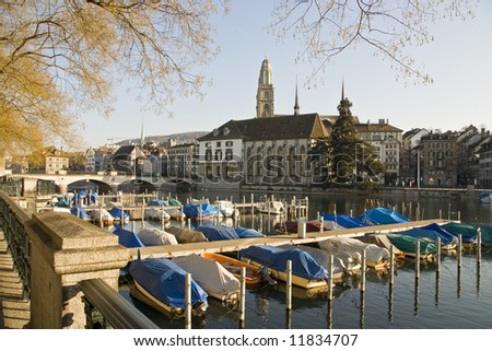 Looking over the water in the centre of Zurich - stock photo