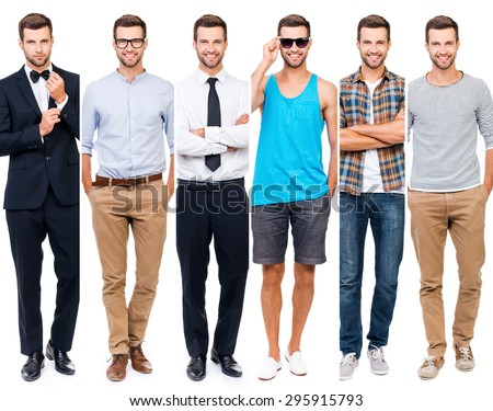 Looking perfect in any style. Collage of smiling young man wearing different clothing and looking at camera while standing against white background - stock photo