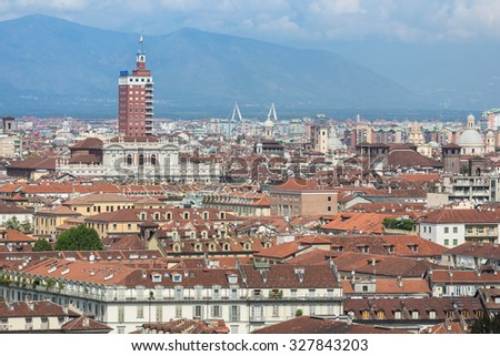 looking roofs of Turin cityscape - stock photo