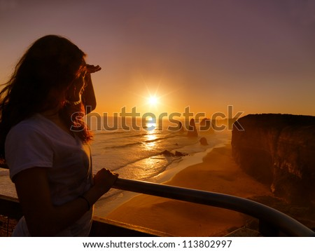 Looking Sunset, Great Ocean Road - stock photo