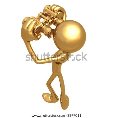 Looking Through Golden Binoculars - stock photo