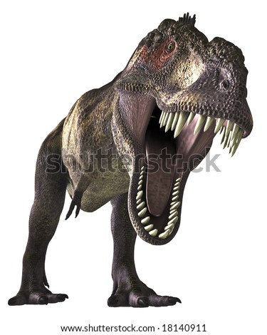 Looking too close into the jaws of an angry Tyrannosaurus Rex. A very realistic looking dinosaur comes to your latest project. - stock photo