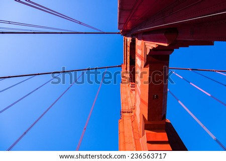 looking up at a Golden gate bridge support. - stock photo