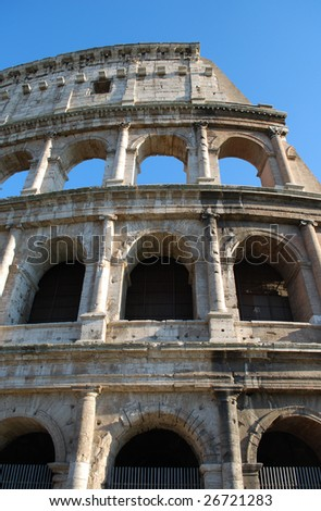 Looking Up at Exterior Profile of the Roman Colosseum, Rome, Italy - stock photo