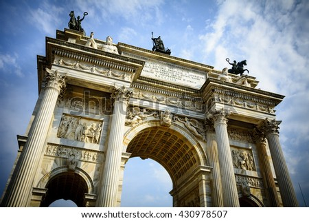 Looking up at Milanâ??s Arco della Pace - stock photo