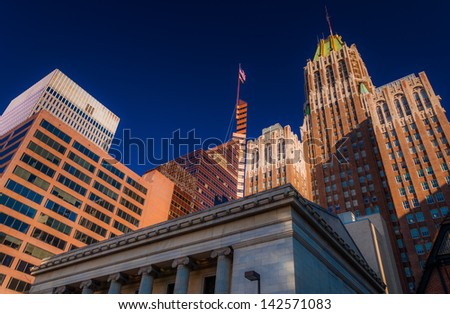 Looking up at office buildings in Baltimore, Maryland. - stock photo
