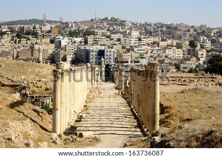 Looking up at the Large South Theatre at Jerash, Jordan - stock photo