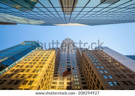Looking up in Manhattan, New York City - stock photo
