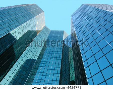 Looking up modern building - stock photo