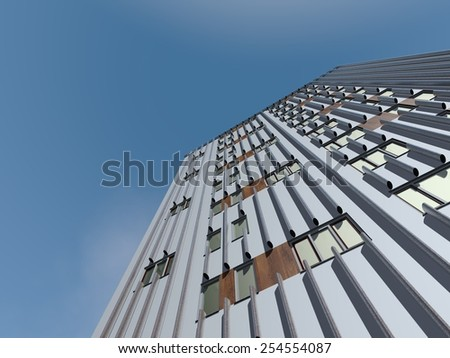 Looking up to the top of a skyscraper - stock photo