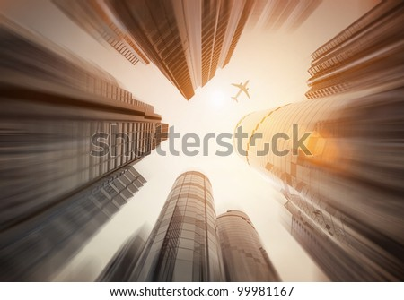 Looking Up - Urban City landscape - stock photo