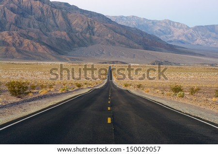 Looking West Along State Route 190 in Death Valley National Park, California, USA. - stock photo