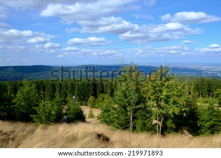 Lookout from the peak of the Altkoenig mountain, Taunus, Hessen, Germany - stock photo