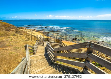 Lookout from the wooden walkway in Flynns Beach, Phillip Island, Victoria, Australia - stock photo