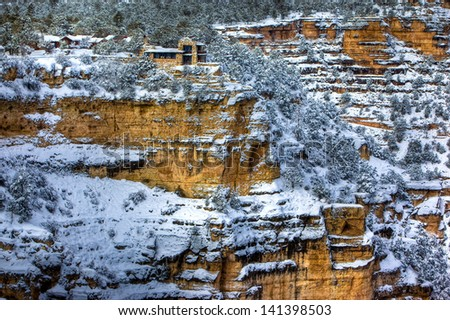 Lookout Studio in winter, Grand Canyon National Park, Arizona - stock photo