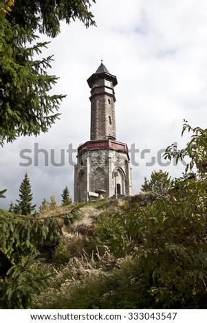 Lookout tower in Jizerske hory mountains in Czech republic - stock photo