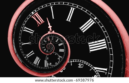 Looks like infinity time spiral, digital generated image with red clock arrow and 12 number - stock photo