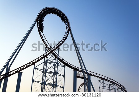 Loop of a roller coaster. - stock photo