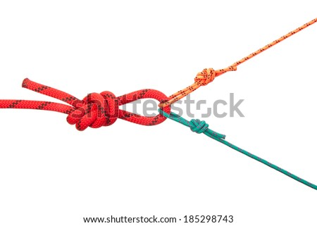 Loops from cords of different diameter. Collection of photos - knots used in mountaineering and rock-climbing - stock photo
