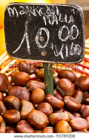 Loose Chestnuts for sale  in an Italian Market - stock photo