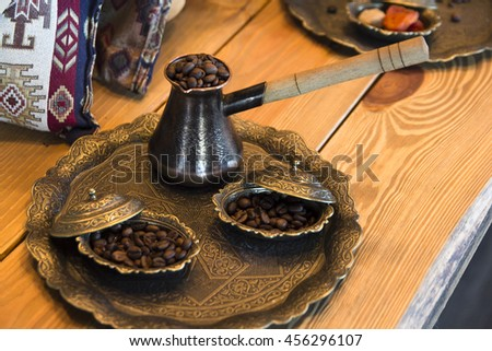 loose coffee in coffee pot on the tray - stock photo