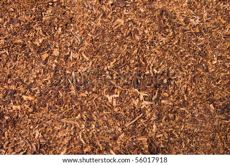 Loose cuts of dried tobacco form golden background texture - stock photo