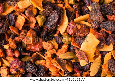 Loose tea end fruit. - stock photo