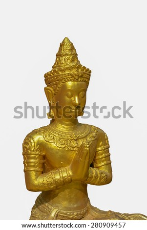 lord bhudda gold statue on white isolated background - stock photo
