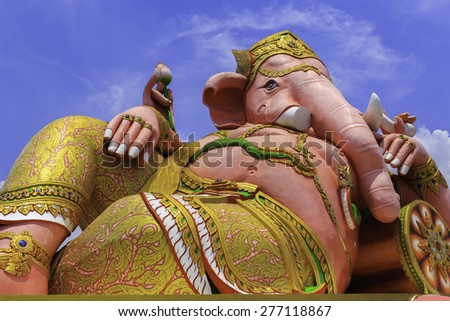 Lord Ganesha pink in the temple saman Chachoengsao - stock photo