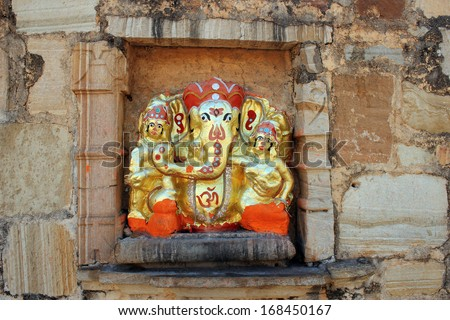 Lord Ganesha Sculpture on wall in Meera Temple at Chittorgarh Fort. Rajasthan. India. - stock photo