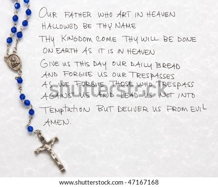 lord's prayer with rosary - stock photo