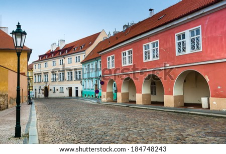 Loretanska medieval street in Prague, Czech Republic city capital. - stock photo