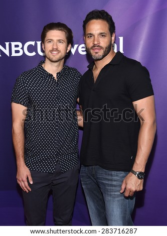 LOS ANGELES - APR 02:  Aaron Tveit & Daniel Sunjata arrives to the NBCUniversal's Summer Press Day 2015  on April 02, 2015 in Hollywood, CA                 - stock photo