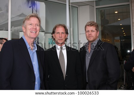 "LOS ANGELES - APR 12:  Billy Moses, Parker Stevenson, Michael Cudlitz arrives at  ""Television: Out of the Box"" Exhibit Launch at Paley Center for Media on April 12, 2012 in Beverly Hills, CA - stock photo"