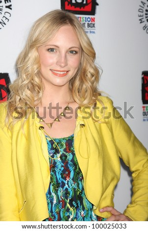 "LOS ANGELES - APR 12:  Candice Accola arrives at Warner Brothers ""Television: Out of the Box"" Exhibit Launch at Paley Center for Media on April 12, 2012 in Beverly Hills, CA - stock photo"