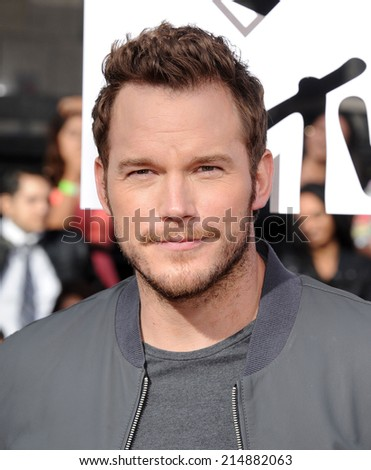 LOS ANGELES - APR 13:  Chris Pratt arrives to the 2014 MTV Movie Awards  on April 13, 2014 in Los Angeles, CA.                 - stock photo