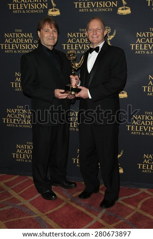 LOS ANGELES - APR 24: Danny Lecuna, Brian Connell at The 42nd Daytime Creative Arts Emmy Awards Gala at the Universal Hilton Hotel on April 24, 2015 in Los Angeles, California - stock photo