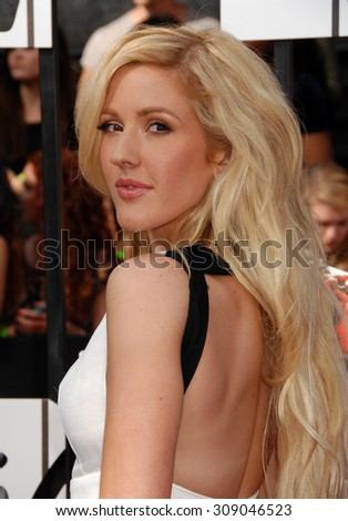 LOS ANGELES - APR 13:  Ellie Goulding arrives at the 2014 MTV MOVIE AWARDS   on April 13, 2014 in Los Angeles, CA                 - stock photo
