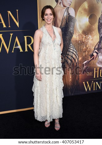 "LOS ANGELES - APR 11:  Emily Blunt arrives to the ""The Huntsman: Winter's War"" LA Premiere  on April 11, 2016 in Los Angeles, CA.                 - stock photo"