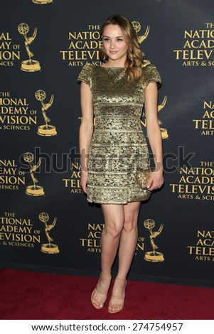 LOS ANGELES - APR 24: Hunter King at The 42nd Daytime Creative Arts Emmy Awards Gala at the Universal Hilton Hotel on April 24, 2015 in Los Angeles, California - stock photo