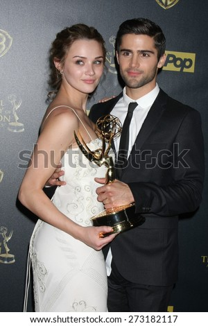 LOS ANGELES - APR 26:  Hunter King, Max Erlich at the 2015 Daytime Emmy Awards at the Warner Brothers Studio Lot on April 26, 2015 in Los Angeles, CA - stock photo